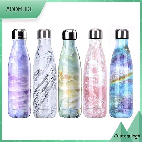 Personalized Customization Custom Logo 500Ml Marble Texture Stainless Steel Water Thermos Bottle Insulated Vacuum Flask Thermo