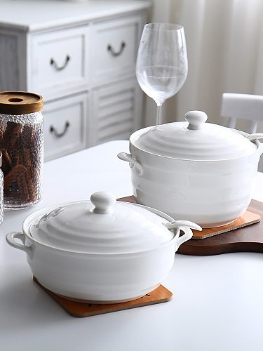 1.2L 2.2L Ceramic Soup Pot Nordic White Pure Color Round with Cover Bowl Tableware Household Kitchen Supplies Cooking Utensils