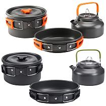 Camping Cookware Kit Outdoor Aluminum Cooking Set Water Pot Pan Sets Travelling Hiking Picnic BBQ Ultralight Tableware Equipment