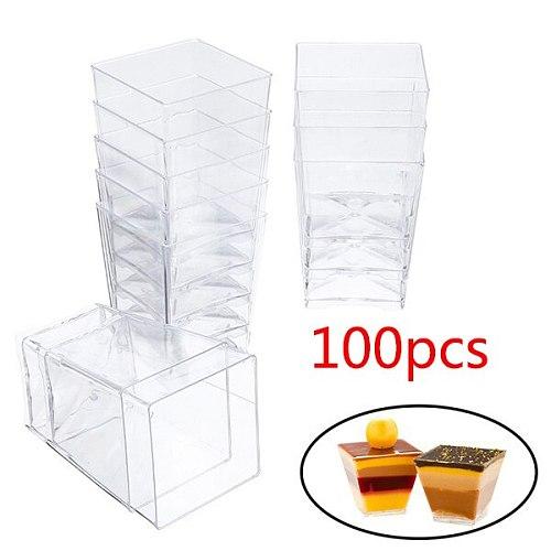 100Pcs 60Ml 2Oz Disposable Plastic Cake Cup Jelly Yogurt Mousse Dessert Baking Transparent Trapezoidal Food Container