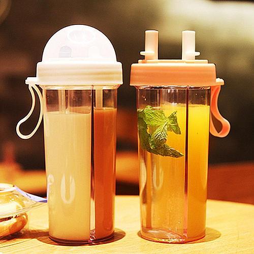 420/600ml Portable Dual Straw Separate Drink Water Beverage Bottle Couples Gift Water Bottles бутылка для воды
