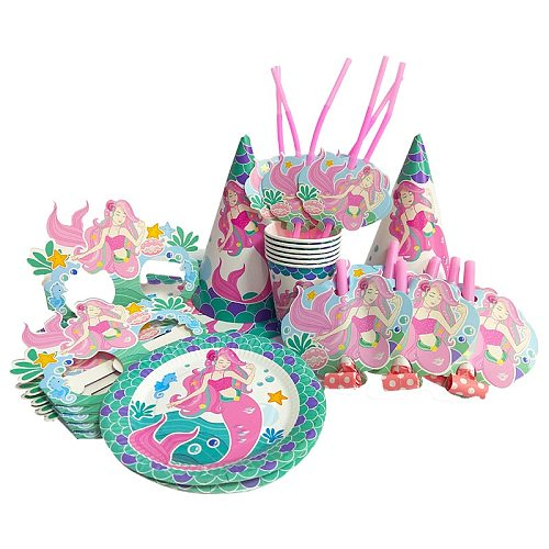 Mermaid Birthday Party Decoration Plate Cup Paper Glasses Happy Birthday Party  Disposable Tableware Decoration For Kids