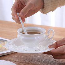 Carved bone china coffee cup dish Spoon Set 180ml simple ceramic tea cup simple white elegant porcelain cup tea drop boat