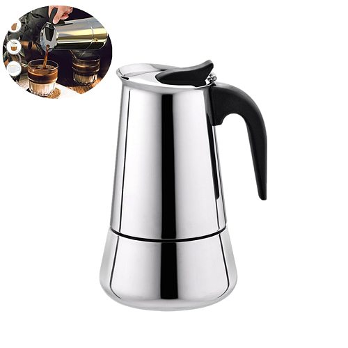 Stainless steel moka pot, leak-proof spout with plastic handle, European style coffee cup and portable electric coffee pot