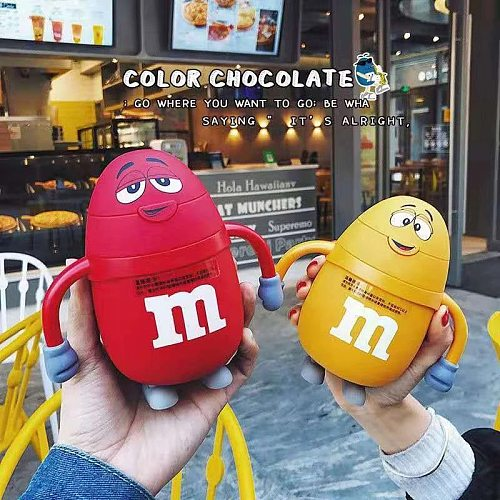 Creative cartoon M bean chocolate bean with straw Stainless steel vacuum coffee mug for outing travel thermos gift for children