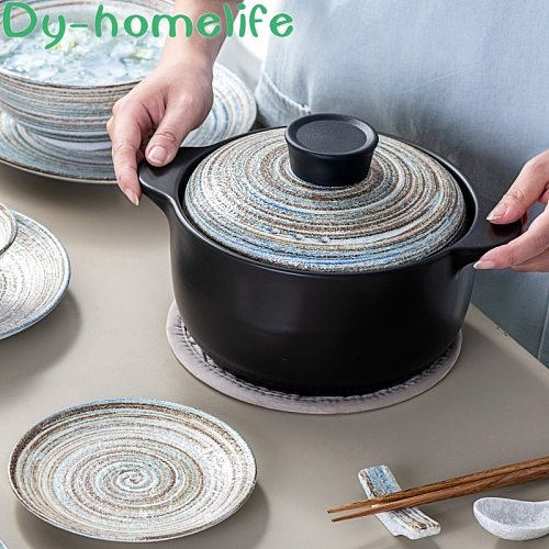 Ceramic Earthenware Pot Japanese Hand-Painted More Sizes Dual-Sided stockpot Single Handle Milk Pot Kitchen Household Fire