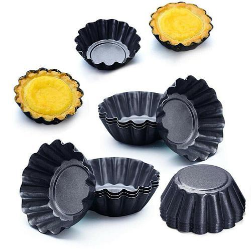 New Mold Egg Baking Nonstick Ripple Aluminum Alloy Egg Tart Mold Flower Shape Reusable Cupcake Muffin Baking Cup Tartlets Pans