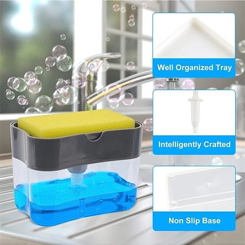 Cleaning Liquid foam Dispenser Container Manual Press Soap Organizer Kitchen Cleaner Tool Soap Pump Dispenser with Sponge Holder