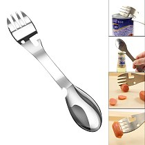 New Multifunctional Camping Cookware Spoon Fork Bottle Opener Portable Tool With Buckle Funny Gift Outdoor Accessories Tableware