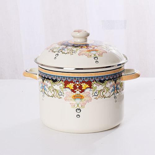 Enamel Pot Enamel Pot Thick Enamel Soup Pot Flat Bottom Pot Pot Stew Stew Gas Stove Universal Ceramic Cooking Pot Wok Insulated