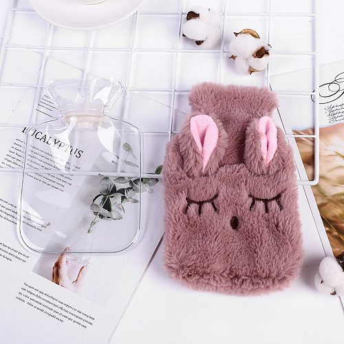 Winter Cartoon Rabbit Hot Water Bottle PVC With Soft Cozy Knitted Cover Washable Hot Water Bag Press Pain Relief Hand Warming
