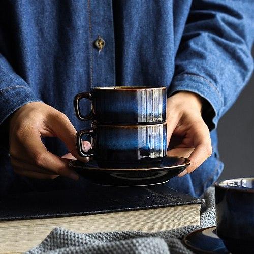 KINGLANG  Ceramic Creative Coffee Cup Saucer Set  Breakfast  Milk Tea Cup Deep  Blue Series