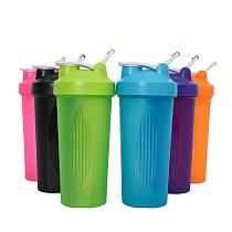 New Colorful 600ml Protein Powder Shaker Bottle Cup With Handle Stirring Ball for Outdoor Sports Fitness