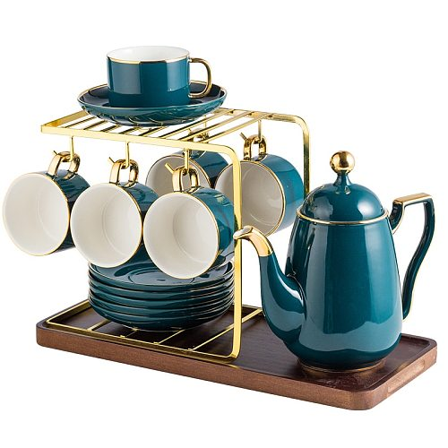 Luxury Nordic Home Blue Cup Small Luxury Coffee Cup Set Reusable Tea Cups and Saucer Sets Pack Utensil Taza Cafe Home Drinkware