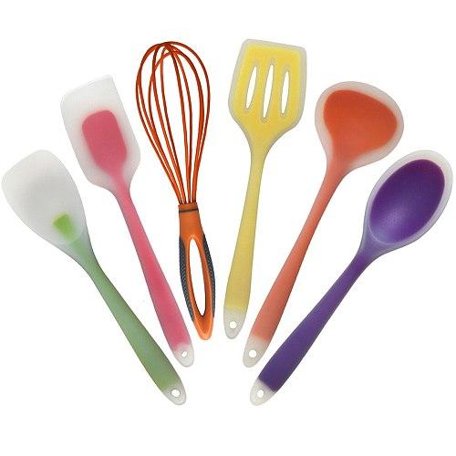 5/6pcs Cooking Tools Set FDA Aproved Utensils Kitchen Spoon Spatula Soup Spoon Ladle Scraper Non-Stick Cookware Kitchen Tools