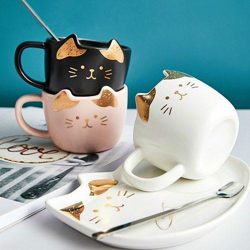 Cup Set Kitchen Tool Mugs Porcelain Cute Creative Cartoon Birthday 200ml Milk Coffee Ceramic & Saucer Cat Office Tea With