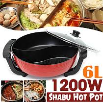 1300W Electric Hot Pot Soup Pots Stainless Steel Non Stick Smokeless Home Kitchen CookwareTwin Divided Shabu Pot