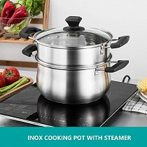 Soup pot Stainless Steel Thickened Induction Cooker Work  Hot Pot Pots and Pans Cookware Set Stock Pots Cookware