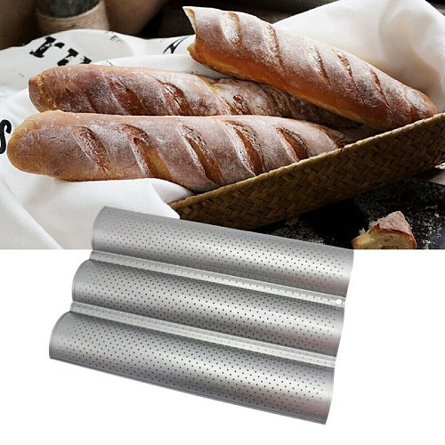 Kitchen Tool Moldes Bakeware Nonstick French Stick Mould Plate Stainless Steel Bread Rack Wave Shape Cake Mold Cake Baking Tray