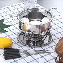 10-Piece Set Stainless Steel Cheese Ice Cream Chocolate Hot Pot Melting Pot Fondue Set Kitchen Accessories for Home Buffet Party