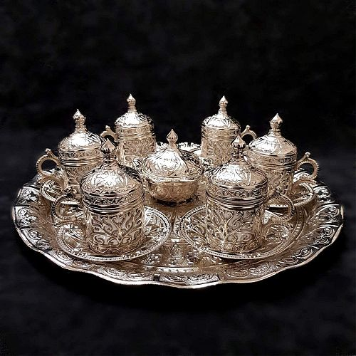 Handmade authentic Design Turkish Greek Arabic Coffee Espresso Set for 6 Service, Cups Saucers Lids Tray Delight Candy Dish GIFT
