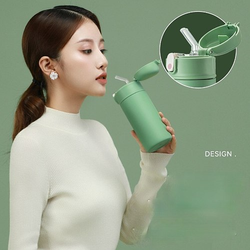 Flask water bottle Straw vacuum flask for adults pregnant women adult girls portable 316 stainless steel water cups cute tumbler