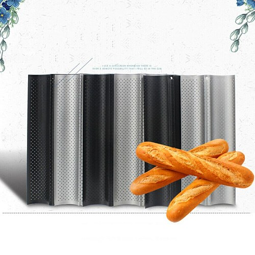 2 Even Baguette Mould Kitchen Silver Baking Oven Long Loaf Mould Household Non-stick Baking Sandwich Pan With Pores French Stick