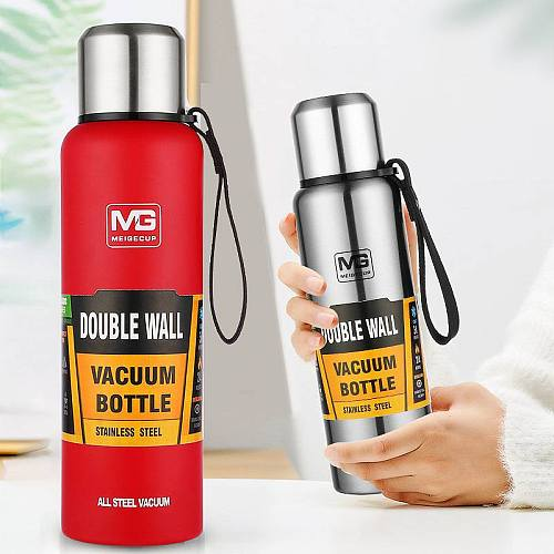 500/750/1000/1500ml Large Capacity Insulated Bottle Outdoor Travel Double Wall Stainless Steel Vacuum Flasks with Portable Bag