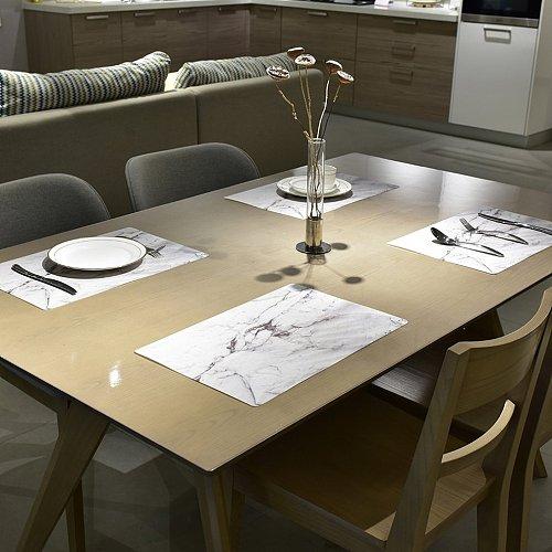 2PCS/SET Marble Pattern Anti-Slip Heat Insulated PVC Dining Table Kitchen Coffee Tea Place Mat Tableware Pad Mat Kitchen Tools