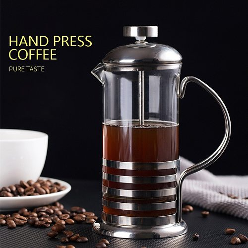 French Press Coffee Maker Stainless Steel Coffee Percolator Pot Cut-outs & Large Capacity Manual Cafetiere Coffee Containers