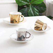 Creative Leopard Anamorphic Cup Mirror Reflection Cup Tiger Zebra Mug Luycho Coffee Tea Set With Coaster 220ml