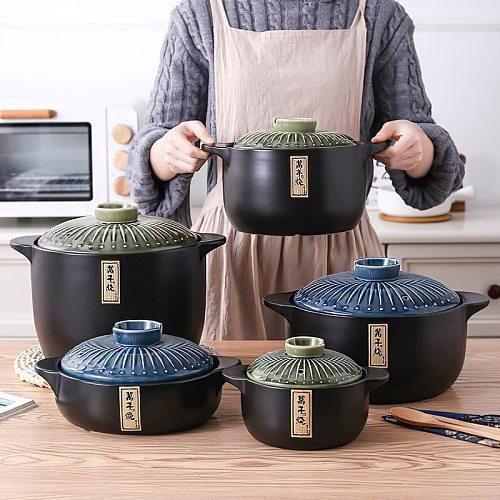 Ceramic Casserole Japanese Round Green Blue 2.5-6L Multiple Size Cooking Pot Cookware Household Kitchen Supplies Saucepan