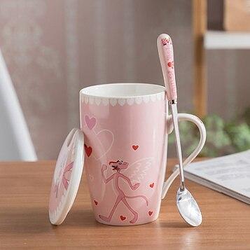 400ml Milk Ceramics Cup pink panther Glass Morning Tea Cup Juice Water Coffee Mug Funny Kitchen Drinkware Girls Gift Dinnerware