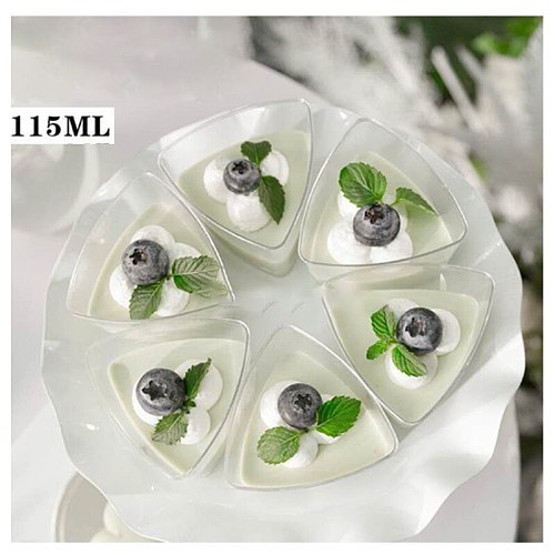 10PCS115ML Disposable Hard Plastic Tableware Pudding Cup Transparent Triangle Dessert Cup For Jelly Yogurt Mousse Dessert Baking