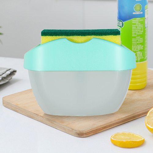 400 ml 2-in-1 Soap Pump Dispenser with Sponge Holder Hand Press Soap Box Organizer Kitchen Cleaner Tools