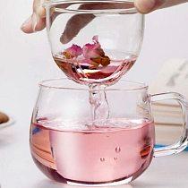 1 Set Coffee Mug Tea Glass Cup Transparent Clear Glass Milk Mug Coffee Tea Mugs With Tea Infuser Filter Lid Water Cup