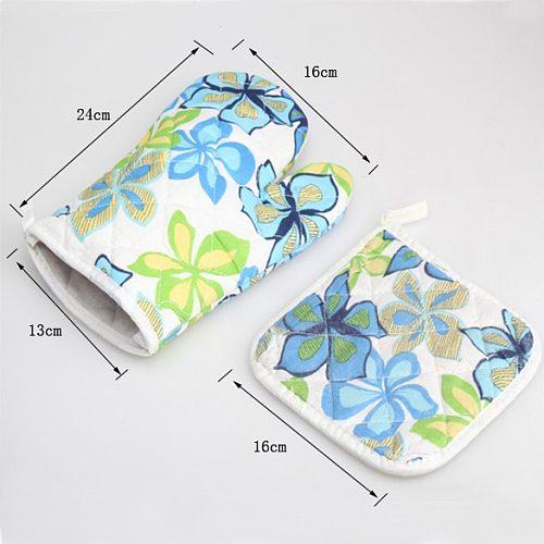 2 Pcs/Set Oven Glove Mat Pot Pad Heatproof Microwave Cotton Hand Protector Kitchen Baking Tools PW