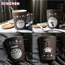 XINCHEN Totoro Theme Milk / Coffee Mugs with Cover and Spoon Pure Color Mugs Cup Kitchen Tool Gift