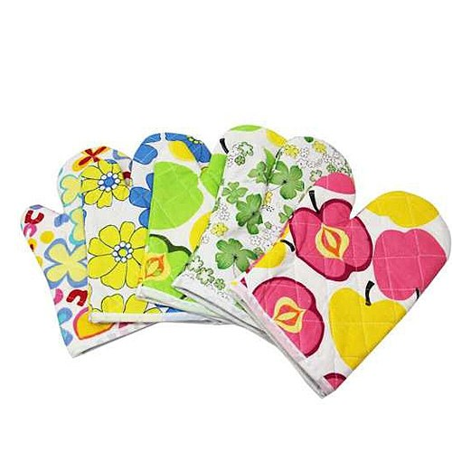 New Hot 1pc 23 x 13cm Cooking Cotton Microwave Oven Gloves Mitts & 1pc 16*16cm Pot Pad Heat Proof Protected Potholder New