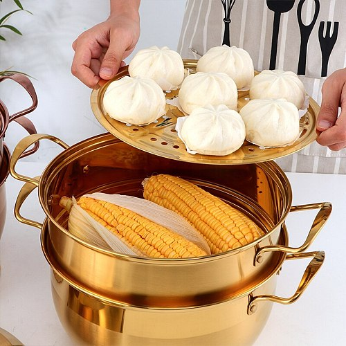 3 Layers Multifunction Steamer Pot Stainless Steel Cookware Boiler Soup Pot Universal for Induction Cooker Gas Stove