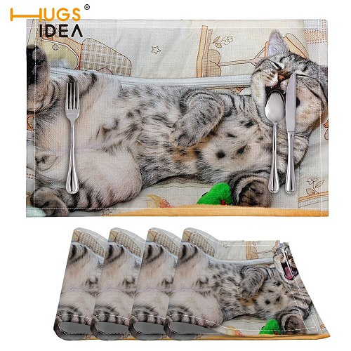 HUGSIDEA PVC 4 Pcs/set Heat Resistant Mat Funny Cat Pattern Dining Placemat Drying Mats For Dishes Coaster Rug For Bowls Rug