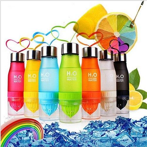 650ml H2O Drink More Water Squeezed Juice Lemon Juice Water Bottle Fruit Infuser Drinkware For Outdoor Sports My Shaker Bottle