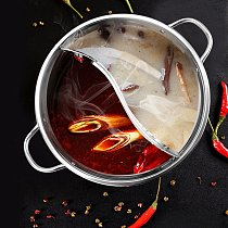 Hot Pot With Divider Stainless Steel Mandarin Duck Electric Pot Dual Sided Hot Pot Divided 2 Grid Soup Base Cooker
