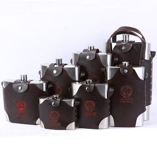 4 8 18 38 48 64 88 108 128 178 OZ Stainless Steel Hip Flask Liquor Whisky Portable Pocket Flasks Alcohol Bottle with Belt Case