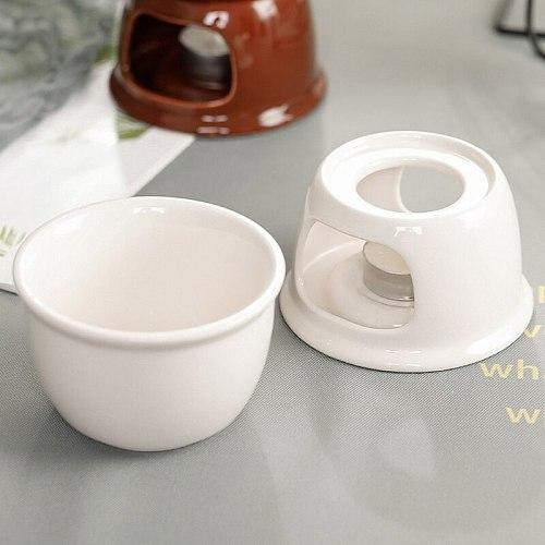 Fondue Pot Set,Chocolate Fondue Pot Cheese Porcelain Melting Pots Porcelain Melting Pot for Tapas And Cheese, Chocolate