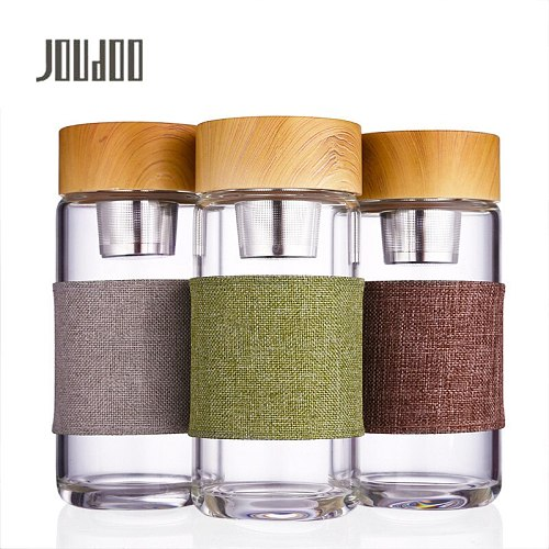 JOUDOO 400ml Tea Infuser Glass Tumbler Bottle Stainless Steel Filter Portable Leakproof Drinking Water Bottles With Cover 47