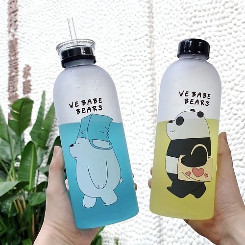 Cute 1000ml Plastic Panda Bear Pattern Water Bottle Cartoon Frosted Water Cup Drinkware Transparent Sports Drinking Water Bottle