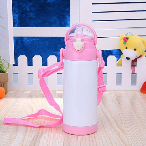 12oz Sublimation Child Water Cup With Straw Blank DIY Water Bottle Stainless Steel Thermos Tumbler Milk Glass Portable Outdoor