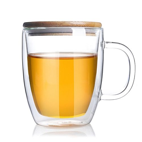 475ml Big beer wine water glasses Drinking glass Tumbler cup Juice cups with bamboo lid  Large tea holder mug Double wall mugs