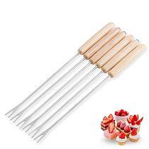 6pcs Stainless Steel Chocolate Fork Hot Pot Forks Cheese Fruit Dessert Fork Fondue Melting Skewer Kitchen Tools